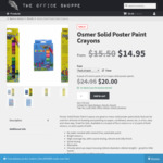 Osmer Solid Poster Paint Crayons Twin Pack (6 Fluro & 12 Bold) - $20.00 + Free Delivery - The Office Shoppe