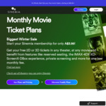 $3.99 Per Month for 1 Movie Ticket Per Month ($47.88 Billed Annually) (+ $10 Activation Fee) @ Sinemia