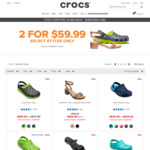 Crocs 2 Pairs for $59.99 on Selected Styles (Free Shipping) @ Crocs Australia