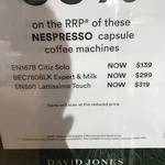 Nespresso Lattisima Touch EN550 $319 (In Store Only) + $30 Cashback and $30 Coffee Credit Redemption @ David Jones