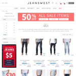 50% off Sale Items - Jeans $29 (Was $79) / Shorts $15 (Was $59) @ Jeanswest