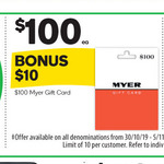 10% Bonus When You Purchase a Myer Gift Card @ Woolworths (In-Store Only)