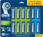 Oral-B Electric Toothbrush Replacement Head 12 Pack (8x Cross Action & 4x Precision Clean) - $49.99 Delivered @ Shaver Shop