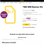 Optus Prepaid Epic Value $180 SIM Kit (120GB, 365 Day Expiry) - $150 @ Optus