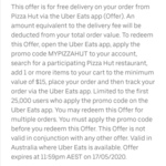 Pizza Hut Free Delivery (Min Spend $15) via Uber Eats