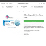 KN95 Face Masks 10 Pieces - $15, McCon's Disposable Face Mask CE FDA 50pcs/Box - $29.99 + $10 Delivery @ NewEastlandOnline