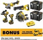 Dewalt 18V / 54V 5 Piece Cordless Combo Kit $1224 (RRP $1649), Dewalt 18V 5 Piece Brushless Kit $832 (RRP $999) @ Bunnings