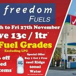 [QLD] $0.13/L off All Grades of Fuel (Up to 120L; Excluding LPG) @ Freedom Fuels