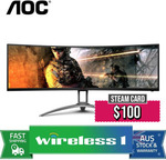 """[Afterpay] AOC AGON AG493UCX 49"""" DQHD 120Hz Curved Monitor + $100 Steam Card $1199.20 Delivered @ Wireless 1 eBay"""