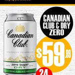 [VIC] Canadian Club Dry & Zero Cans 24x375ml $59.99 Pickup Only @ Cellarbrations, Beretta's Langwarrin Hotel