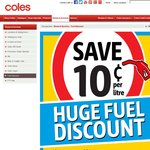 Coles Fuel Discount 10c/L Discount on Purchases $50 or More