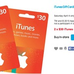 iTunes Cards 2x $30 for $45 (25% off) at Big W