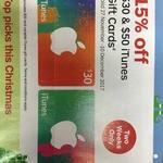 15% off $30 & $50 iTunes Gift Card @ Australia Post