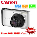"Free Shipping Canon PowerShot A3000IS 10.0 M 2.7"" TFT LCD Digital Camera + Free 8GB SD Card $129"