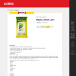 Pine O Cleen Surface Wipes Lemon Lime 120 Pack $5 (Was $10) @ Coles