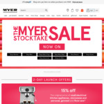 Take 15% Off Kitchen / Personal Appliances, 40% Off Selected Men's, Women's & Kids Clothes, 40% Bedding @ MYER