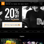 20% off Everything in-Store & Online @ T2 - Tea Society [Free Membership]