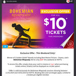 HOYTS Silver Rewards Members - Bohemian Rhapsody Tickets $10 - 11th-14th Jan Only