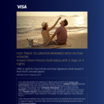 Hilton Honors Fast Track to Gold Status with 2 Stays or 4 Nights for VISA Signature or Infinite Card Holders