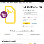 Optus $40 Pre-paid Starter SIM Kit for $20 + Free Delivery @ Optus Online