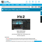 iZotope Iris 2 (Music Synth Software) Free (Usually $149 USD) with Any Purchase at Plugin Boutique