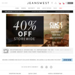 40% off Sitewide Click Frenzy Sale, Including Sale Items. $10 Postage, or Free w/ $75 Spend @ Jeanswest