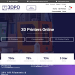 10% off All 3D Printers, 15% All 3D Resins, 20% off All Filaments & Parts @ 3DPO