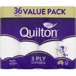 Quilton 3 Ply Toilet Paper 36 Rolls / 180 Sheets $14 (21.6c/100 Sheets) @ Coles