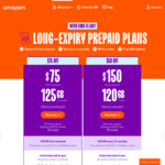 50% off 6 Month Expiry Prepaid SIM Plan $75, 125GB Data (First Renewal Only, $150 Thereafter) @ amaysim