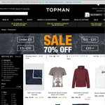 Topman up to 70% off Sale + 10% Discount Code + Free Shipping over £100 (Otherwise £9 Fee)