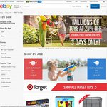 eBay Big Sunday: 20% off All Toys from 10am AEST This Sunday 9th to Tuesday 11th
