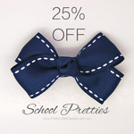 25% off Girls School Hair Accessories in School Colours + Free Shipping for Orders over $30 @ Pretty Little Clippies