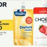 Pauls Custard Pouch 70g or Chobani Yoghurt 140g - 5 for $5.00 @ Woolworths 17/2