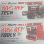 Repco 30% off Tech; 40% off Tools - 1 Day Only Tuesday 21/3/17 - Voucher Required