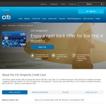 Citi Simplicity Credit Card - 10% Cash Back on (Capped at $50 Per Month) for First 4 Months