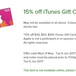 15% off $30/ $50/ $100 iTunes Cards @ Woolworths