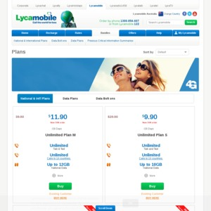 Lycamobile Unlimited Plan S $29 90 Starter Pack - $9 90/28