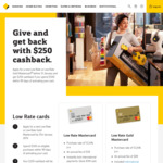 $250 Cashback (after $500 Spend) on Commonwealth Bank Low Rate & Gold Low Rate Credit Card ($59/ $89 Annual Fee)