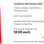 Vodafone $30 Starter Pack for $9 - 30GB Included When Activated before 31.01.19 @ Coles