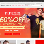 50% off Storewide, Free Shipping: Polo $12.90, Shirt $22.90, Pants $18.90, Down Jacket $50.50 @ Giordano Online Store