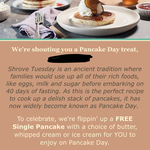 [VIC] Free Pancakes on Tuesday The 5th of March (Rewards App Required) @ Pancake Parlour