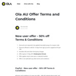 Ola Ride Share Discount - Capped Discount of $10 Per Ride & Airport Special - Limited Time Offer