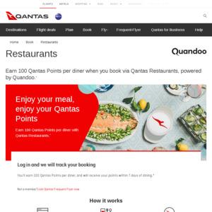 Earn 100 Qantas Points Per Diner When You Book via Qantas Restaurants, Powered by Quandoo