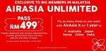 Airasia Unlimited Pass - Flights from Kuala Lumpur to Australia RM499 (~$181 AUD) + Airport Tax (Malaysia Address/VPN Req.)