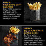 Free Chips with $5 Spend, Grilled Portuguese Chicken + Extra Large Chips $15 @ Oporto (Membership Req, Excludes SA)