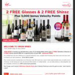 Virgin Wines: 12 Handcrafted Wines Plus 2 Free Stemless Glasses & 2 Free Shiraz (Worth $95) for $99 + 3000 Velocity Points