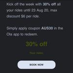 30% off (Max $6) @ Ola