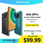 Cubot Note 20 Pro Camera Quad Smartphone 6GB + 128GB Helio P60 Smartphone US$109.99 (A$155.48) Shipped @ Cubot via AliExpress
