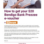 Free $20 Prezzee E-Voucher via Bendigo Bank When You Save BB Card Details with Kayo, Audible or Binge and Spend > $20