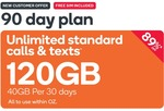 Kogan 90 Day Prepaid SIM 120GB (40GB Per 30 Days) $14.90 New Customers Only @ Kogan Mobile
